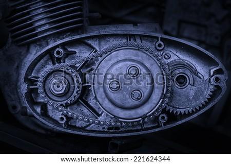cut motor-driven chain in blue tone - stock photo