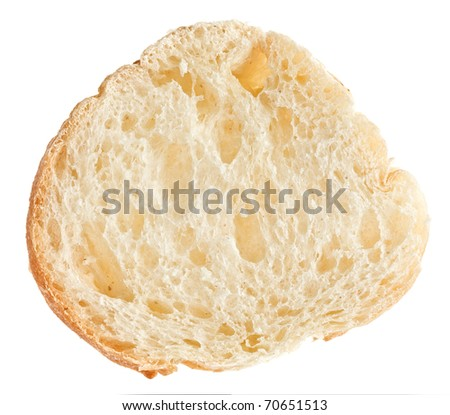 Cut of baguette bread isolated on white - stock photo