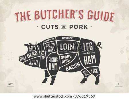 Cut Meat Set Poster Butcher Diagram Stock Illustration 376819369