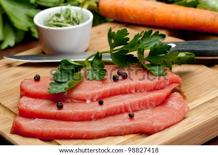 cut of Silverside beef with some pepper - stock photo