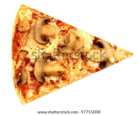 Cut off slice mushroom pizza vegetarian isolated on white background - stock photo