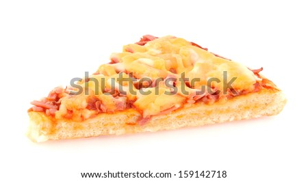 Cut off slice pizza isolated on white background - stock photo