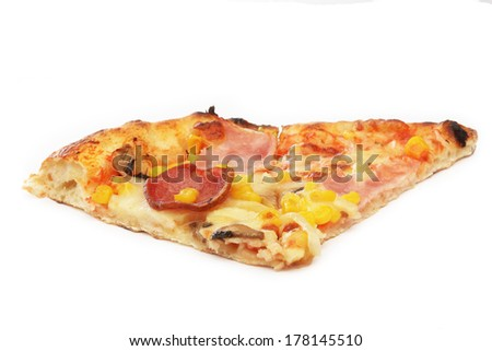 Cut off slice pizza on white background
