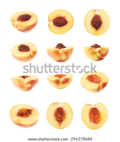 Cut open ripe nectarine half isolated over the white background, set of twelve different foreshortenings - stock photo