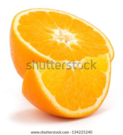 Cut orange fruit isolated on white background - stock photo