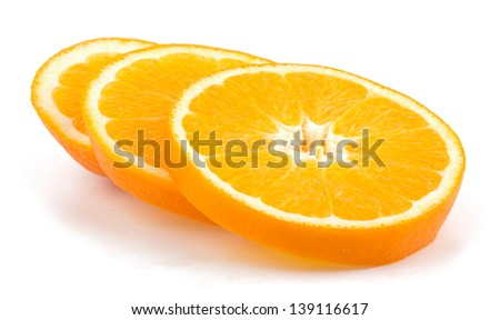 Cut orange fruit isolated on white background