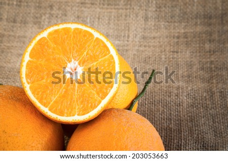 Cut oranges on background