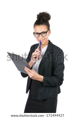 Cut out image of a young beautiful business woman who holds a clipboard and a pen