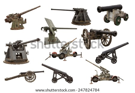 Cut out image of many guns and cannons of war - stock photo
