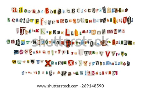 cut out kidnapper ransom note letters isolated on white background