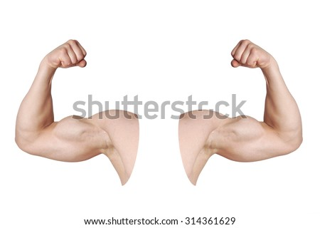 Cut Out Male Arms Flexed Biceps Stock Photo Royalty Free 314361629