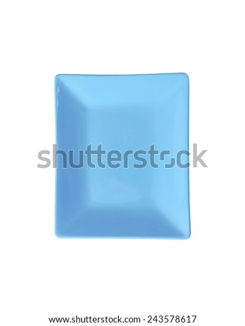 cut out of blue rectangular plate on white background