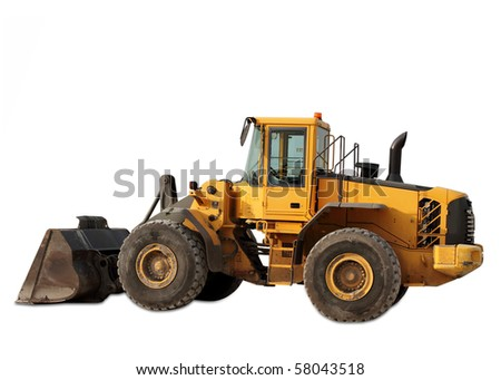 Cut out yellow tractor on white background