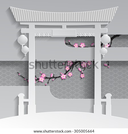 Cut paper chinese or japanese gate with branch of cherry blossom on the decorative background - stock photo