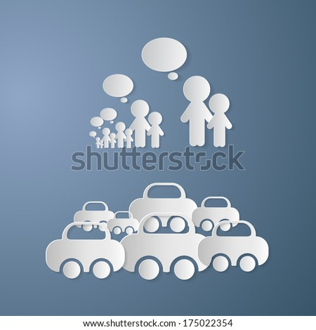 Cut Paper People With Empty Speech Bubbles and Cars on Blue Background - Also Available in Vector Version  - stock photo