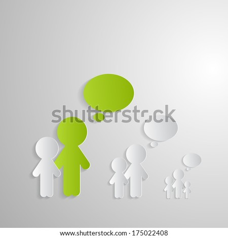 Cut Paper People With Empty Speech Bubbles on Paper Background - Also Available in Vector Version  - stock photo
