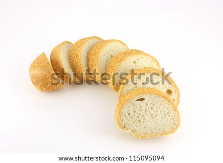 Cut piece of bread over white