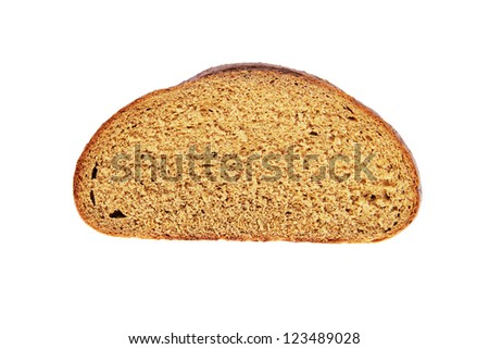 Cut piece of dark bread isolated on white background