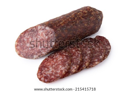 Cut pieces of smoked sausage isolated on white background