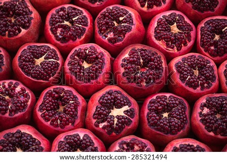 Cut pomegranates on streets of Istanbul, Turkey - stock photo