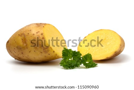 Cut potatoes isolated on white background