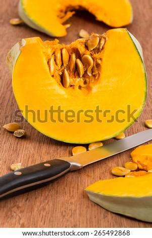 cut pumpkin  - stock photo