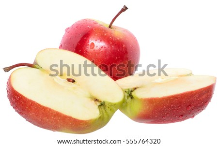 Cut red apple isolated on a white background.