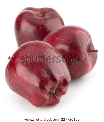 Cut Red apples isolated on white background - stock photo