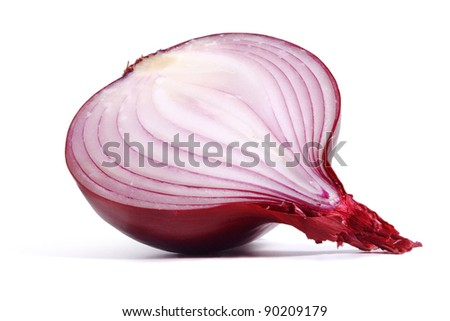cut red onion isolated on white background with shadow - stock photo