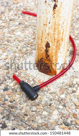 Cut red padlock - stock photo