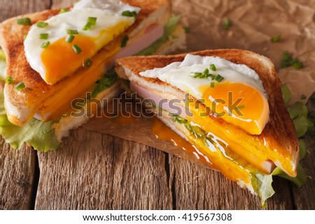 Cut sandwich with fried egg, ham and cheese close-up on the paper on the table. horizontal