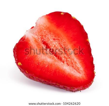 Cut strawberry isolated on white background - stock photo