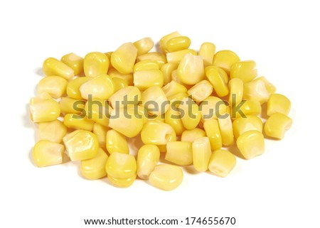 Cut sweet corn isolated on white