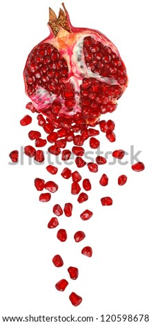 Cut the pomegranate with scattered grain top view isolated on white background. - stock photo