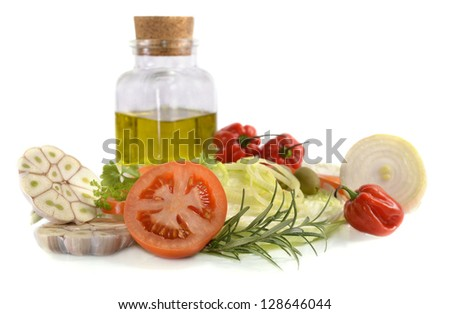 Cut vegetables isolated on white - stock photo