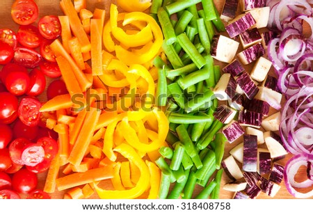 Cut vegetables of rainbow colors  - stock photo
