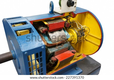 cut way synchronous electric motor in isolated background - stock photo