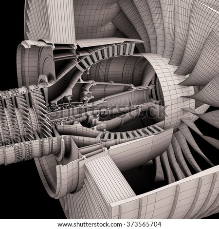 Cutaway of the turbofan aircraft engine