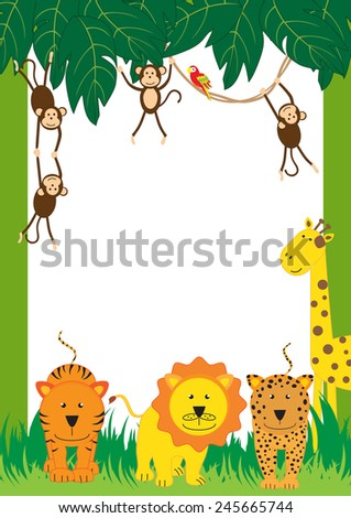 Cute, abstract frame with cheerful tropical animals - stock photo