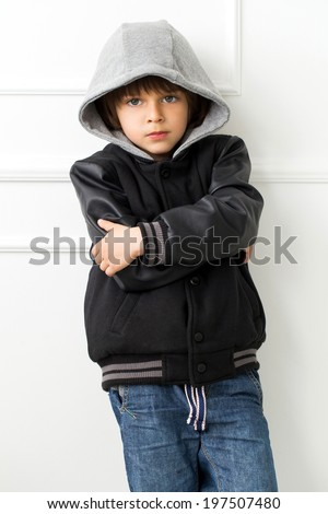 Cute, adorable in black jacket - stock photo