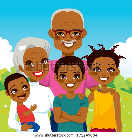 Cute African American Grandparents With Grandchildren family together on park smiling happy - stock photo