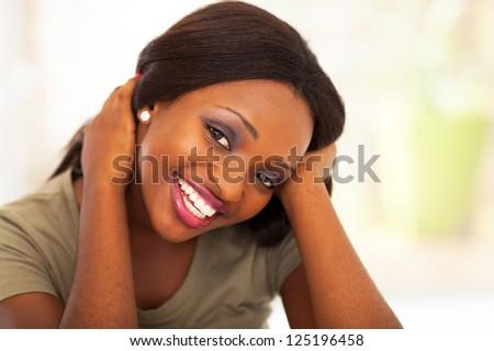cute african american teen girl closeup - stock photo