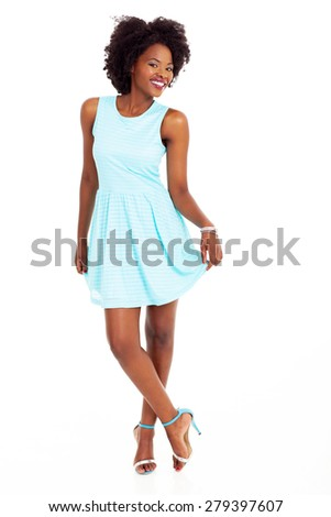 cute african american woman full length portrait on white