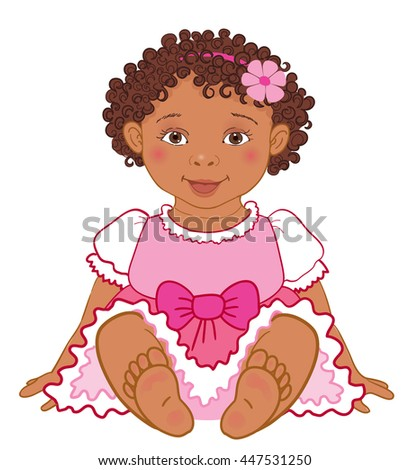 Cute african baby girl in pink dress Happy princes  Illustration isolated - stock photo