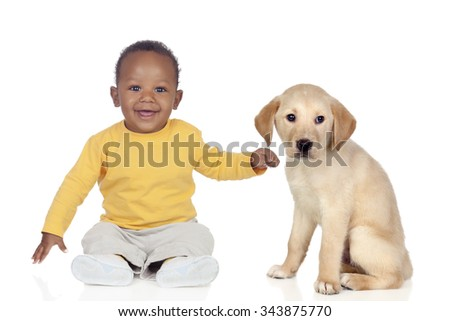 Cute african baby with a nice puppy dog isolated on a white background - stock photo