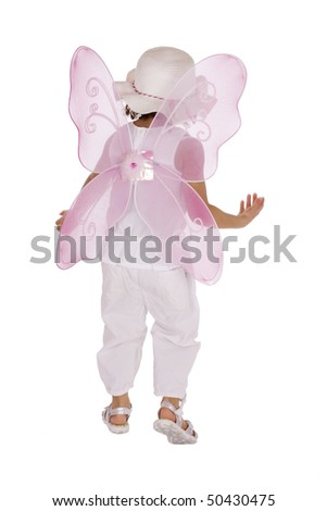 Cute afro american girl with pink angel wings - stock photo