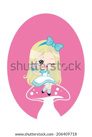 Cute Alice in Wonderland. Sweet Alice in Wonderland drawing in kawaii chibi manga style. Alice is blinking while sitting on a mushroom and holding a colorful lollipop. Ideal for girl cards or books. - stock photo