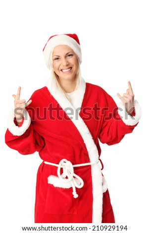 Cute and attractive young santa claus. Wearing a red hat and costume. White background. - stock photo