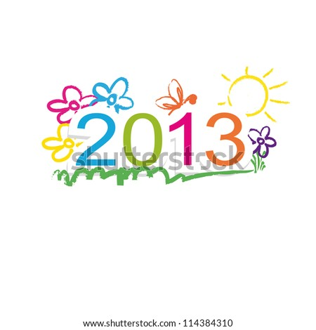 Cute and colorful calendar on New Year 2013 - stock photo