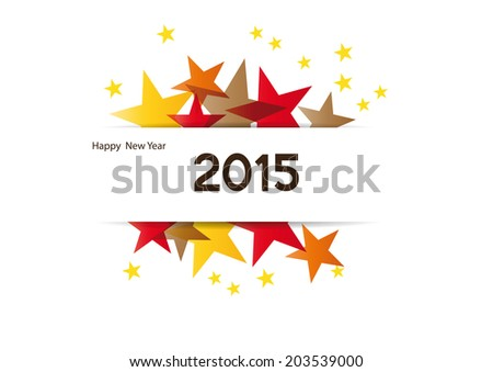 Cute and colorful card on New Year 2015 - stock photo